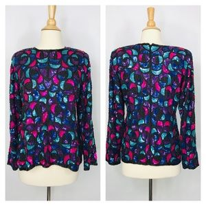 NWT Vintage Silk Beaded Sequin Blouse Holiday